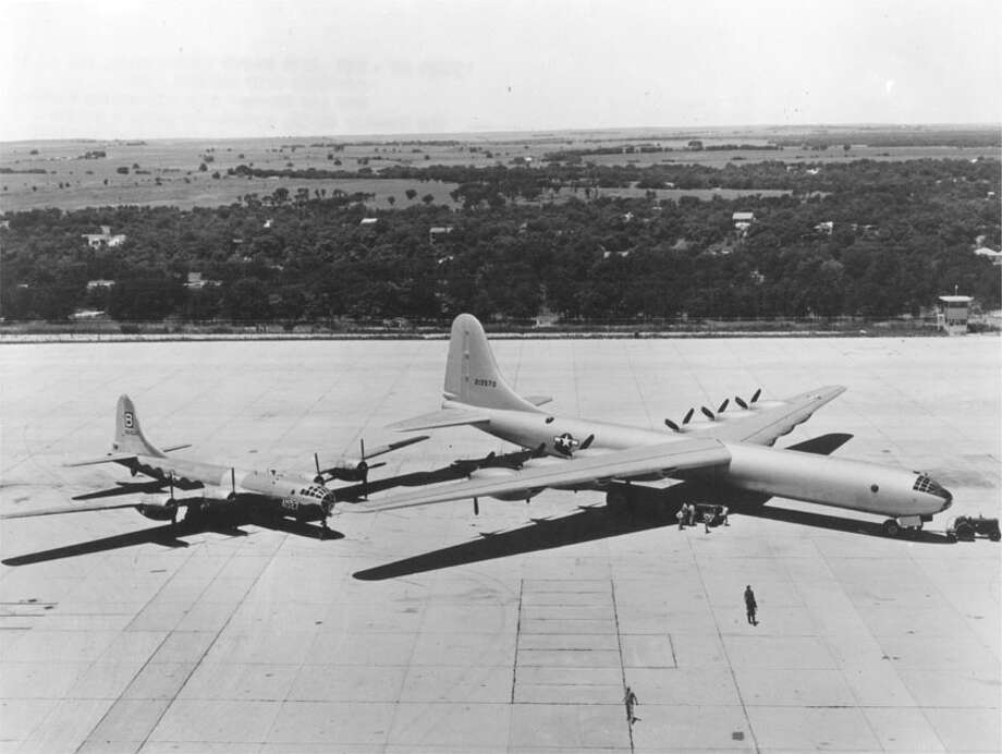 The B-29 was thought of as immense when it was first built but looked tiny beside the Air Force's six-engine Convair XB-36 bomber, the B-36 prototype, which first flew on Aug. 8, 1946. The XB-36 had a wingspan 89 feet wider than the B-29, was 64 feet longer and could fly twice as far. Photo: U.S. Air Force Historical Research Agency