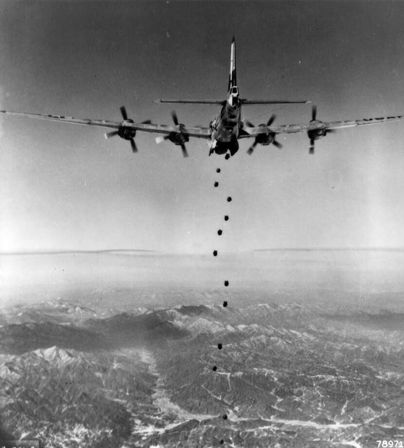 But the military B-29s weren't done with their service yet, as the U.S. soon got involved in Korea. Here, the lead 19th Bomb Group B-29 begins a bombing attack against a target in North Korea in February 1951. Photo: National Museum Of The U.S. Air Force