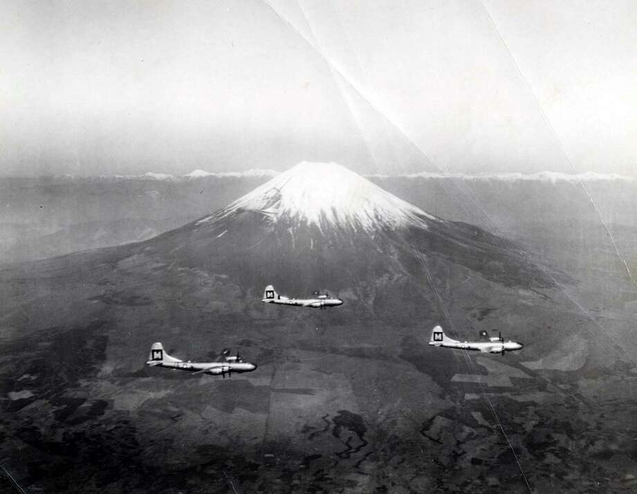 Boeing B-29s fly past Mount Fuji, in Japan. Photo: National Museum Of The U.S. Air Force