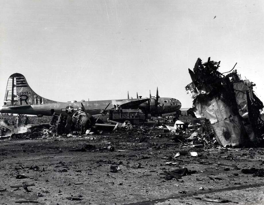 A destroyed B-29 is seen beside a damaged B-29. Photo: National Museum Of The U.S. Air Force