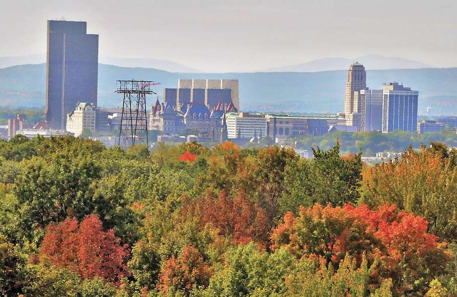 Albany city skyline with fall foliage as visible from the top of the new parking garage at  Hudson Valley Community College. John Carl D'Annibale / Times Union Photo: John Carl D'Annibale