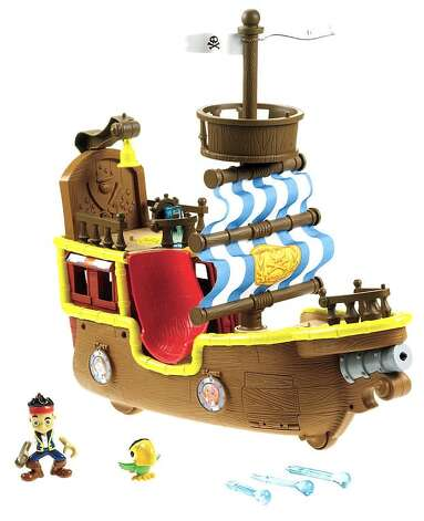 "Fisher-Price Jake and the Never Land Pirates: Musical Pirate Ship Bucky, $44.99, ages 3 and up. This ship belongs to Jake, a good pirate who helps Peter Pan battle Hook in Disney's ""Peter Pan Returns."" Kids can fire the canon and launch the Tic Toc Croc onto their living room floors."