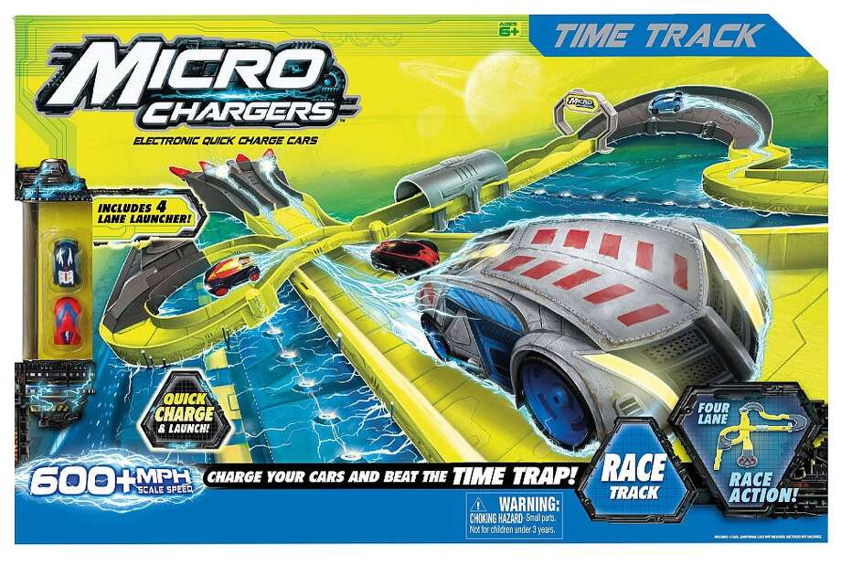 Micro Chargers Time Track Race Track, $29.99, ages 6 and up. Tiny, battery-powered cars perform gravity-defying stunts and supposedly reach speeds of up to 600 mph. Wow!