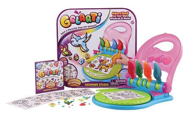 Gelarti Designer Studio, $24.99, ages 5-7.Make a fun and colorful world on your walls by decorating peel-off stickers with glitter and paint pens.