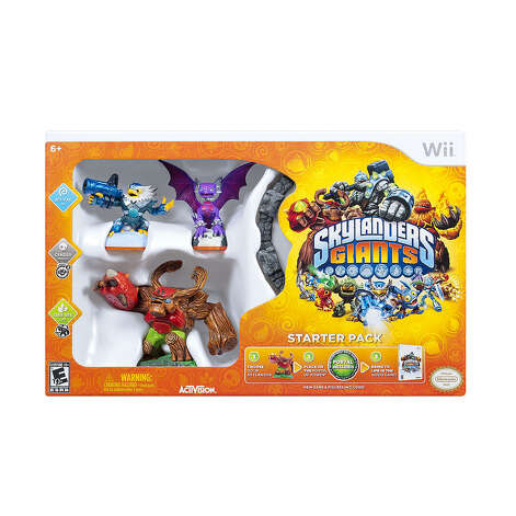 Skylanders Giants Starter Pack for Nintendo Wii, $74.99, ages 6-8.This video game is all about epic battles and Skylanders Giants who've been banished from Earth.