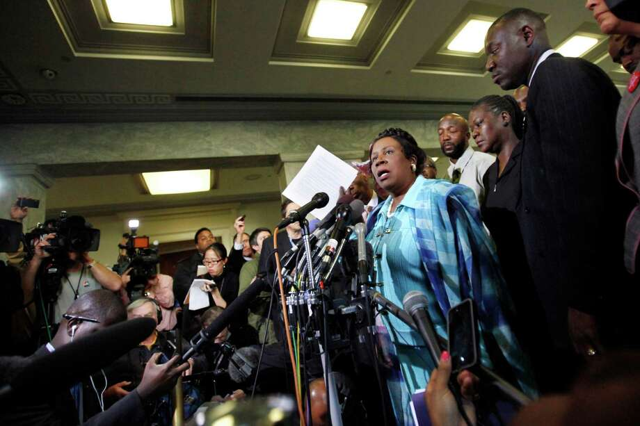 Rep. Sheila Jackson Lee speaks at a news conference with Trayvon Martin's parents after attending the House Judiciary Committee Democrats' briefing on racial profiling and hate crimes on March 27, 2012. Photo: Jacquelyn Martin, Associated Press / AP