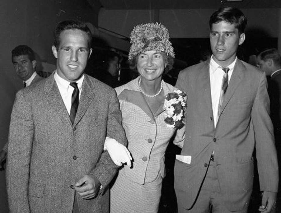JULY 6, 1964: Michigan governor George Romney and wife Lenore came to SF for the GOP convention. Elder son Scott (left)  was a junior at Stanford. Mitt (right) was a high school senior. (John McBride / The Chronicle)