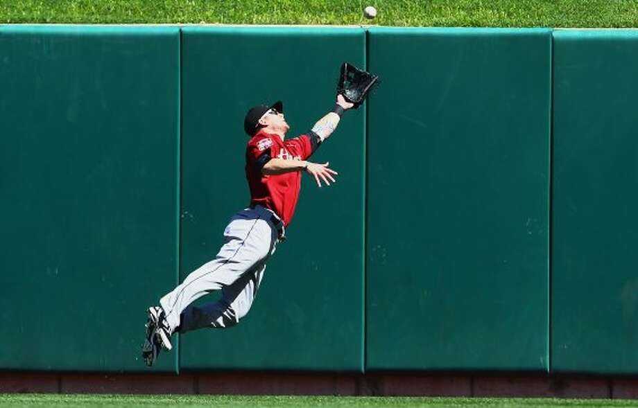 Sept. 20: Cardinals 5, Astros 4Brandon Barnes makes a highlight-reel catch in the first inning. (Dilip Vishwanat / Getty Images)