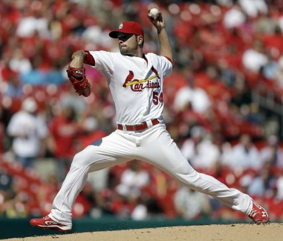 Cardinals starting pitcher Jaime Garcia works during the first inning. (Jeff Roberson / Associated Press)