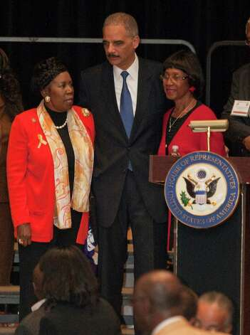 Congresswoman Sheila Jackson Lee, U. S. Attorney General Eric Holder and Rose Mary McGowan, the sister of Barbara Jordan, visit at Wheatley High School in Houston on Feb. 13, 2012. Photo: Melissa Phillip, Houston Chronicle / © 2011 Houston Chronicle
