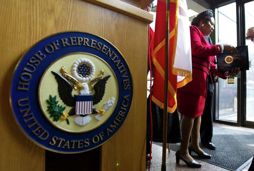 Sheila Jackson Lee prepares to leave a press conference on Monday, Feb. 14, 2011, in the Mickey Lela