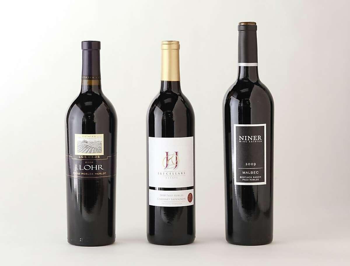 Paso Robles Bordeaux-style reds, from left: 2009 J. Lohr Vineyards Los Osos Paso Robles Merlot; 2010 J+J Cellars Paso Robles Cabernet Sauvignon; 2009 Niner Wine Estates Bootjack Ranch Paso Robles Malbec