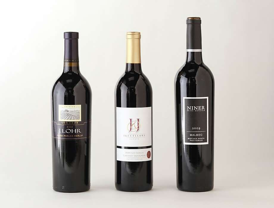 Paso Robles Bordeaux-style reds, from left: 2009 J. Lohr Vineyards Los Osos Paso Robles Merlot; 2010 J+J Cellars Paso Robles Cabernet Sauvignon; 2009 Niner Wine Estates Bootjack Ranch Paso Robles Malbec Photo: Craig Lee, Special To The Chronicle