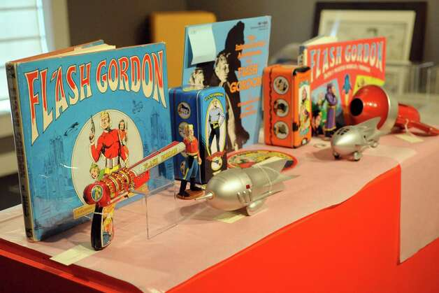 "Artwork and memorabilia is set up for the upcoming exhibit ""Flash Gordon and the Heroes of the Universe"" at the Stamford Museum and Nature Center on Thursday, September 13, 2012. The exhibit opens the weekend of September 22. Photo: Lindsay Niegelberg / Stamford Advocate"