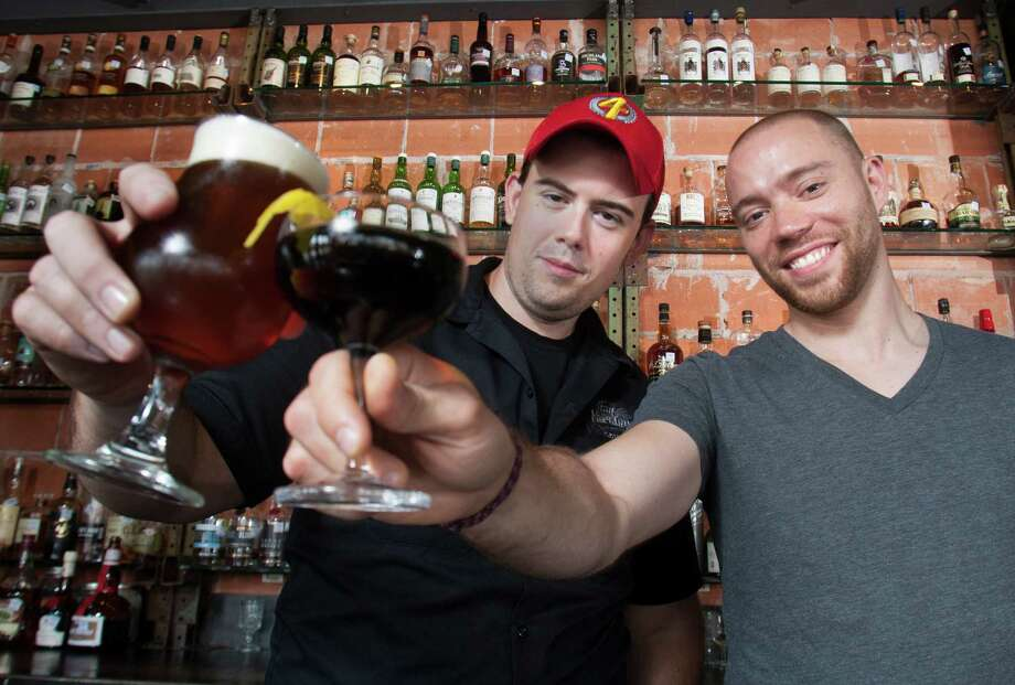 Bar owners Kevin Floyd, left, and Bobby Heugel and their associate Michael Burnett are becoming minority owners of Legacy's restaurant properties, including Ninfa's on Navigation and Antone's Famous Po-Boys. Photo: J. Patric Schneider / © 2012 Houston Chronicle