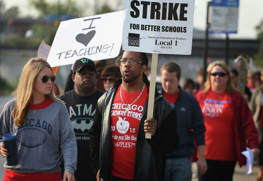 One of our readers says he is grateful a Chicago-style teachers strike is something that could never happen in Texas. Photo: Scott Olson, Getty Images / 2012 Getty Images