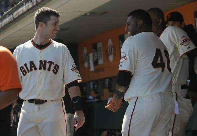 Buster Posey (left) and Pablo Sandoval went back-to-back in the fourth during a rare display of Giant power at AT&T Park. Photo: Lea Suzuki, The Chronicle