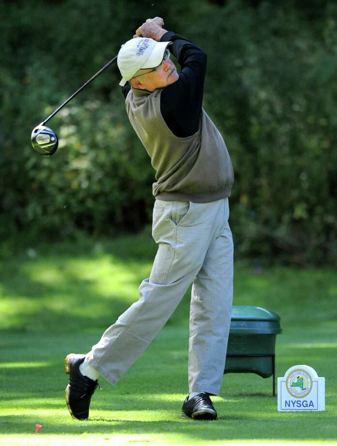 Chuck Connolly of Kingswood Golf Course drives off the 11th tee during the second round of the New York State Golf Association Senior Amateur Championship Thursday, Sept. 20, 2012 at Wolferts Roost Country Club in Albany, N.Y. (Lori Van Buren / Times Union) Photo: Lori Van Buren