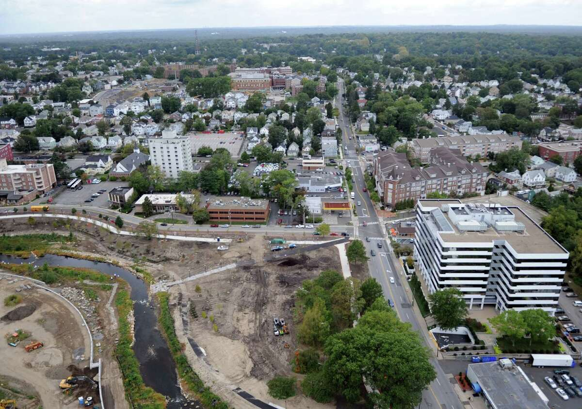 The progress at Mill River Park can be seen from the roof of Trump Parc in Stamford on Thursday, September 20, 2012.