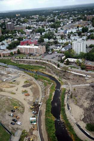The progress at Mill River Park can be seen from the roof of Trump Parc in Stamford on Thursday, September 20, 2012. Photo: Lindsay Niegelberg / Stamford Advocate