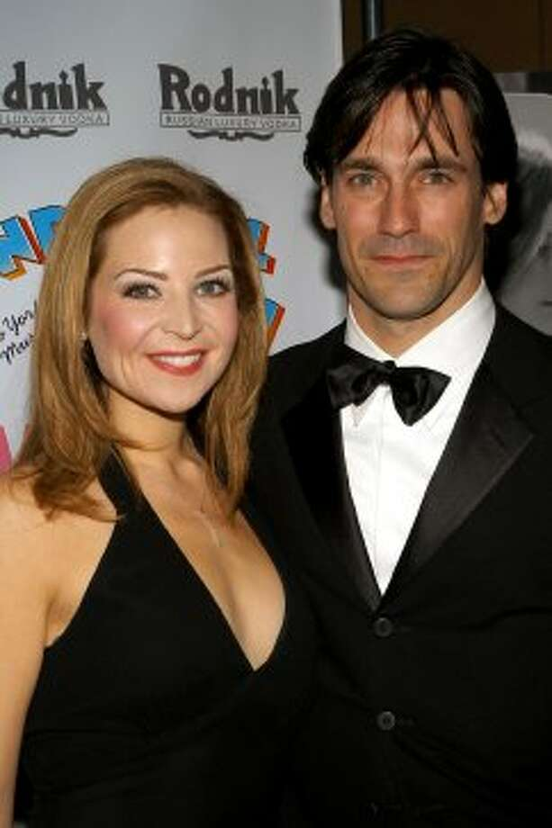 Before Jon Hamm, 41, became Don Draper, he was mostly known as the boyfriend of actress and screenwriter Jennifer Westfeldt. Here's the couple in 2003.  (Getty Images)