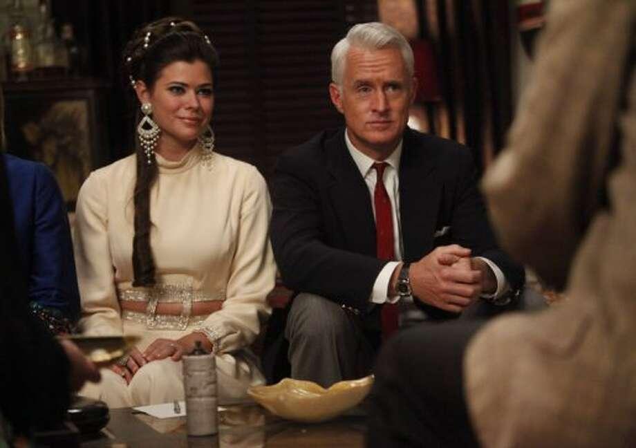 Peyton List (L) as Jane Sterling with John Slattery as Roger Sterling. Photo: AMC.