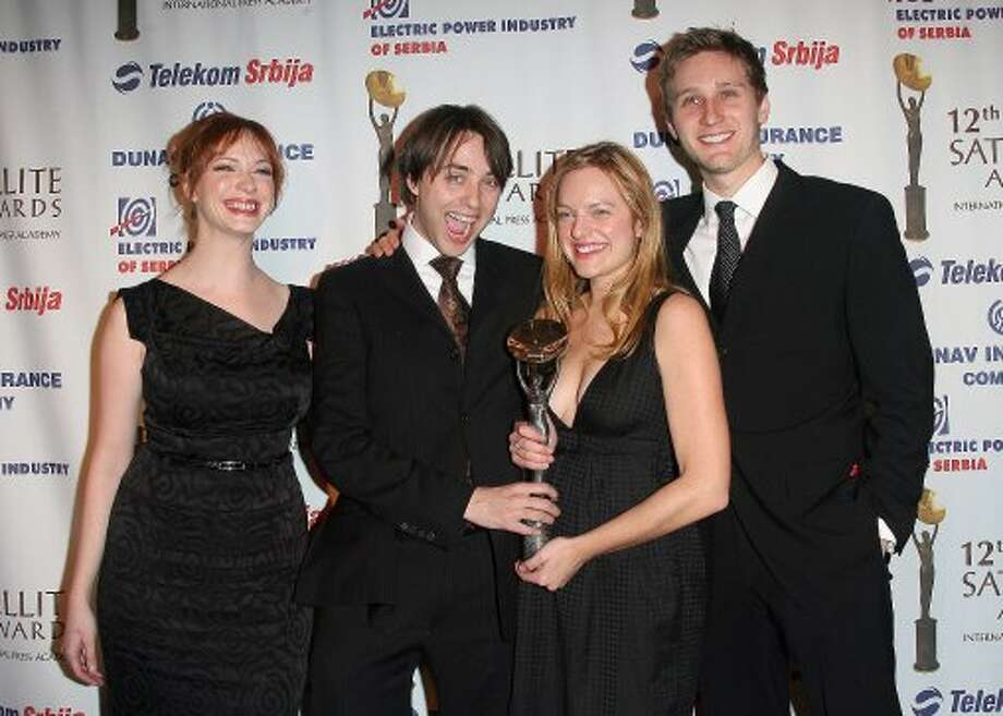 """Mad Men"" cast in 2007, at the International Press Academy Satellite Awards. (L-R): Christina Hendricks, Vincent Kartheiser, Elisabeth Moss and Aaron Staton.  (VALERIE MACON / AFP/Getty Images)"