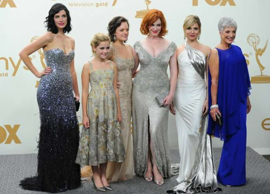 """Mad Men"" cast in 2011, at the Emmys awards show. Will everyone's favorite 1960s drama win again? From L-R: Jessica Pare, Kiernan Shipka, Elisabeth Moss, Christina Hendricks, Cara Buono and Randee Heller.  (Alberto E. Rodriguez / Getty Images)"