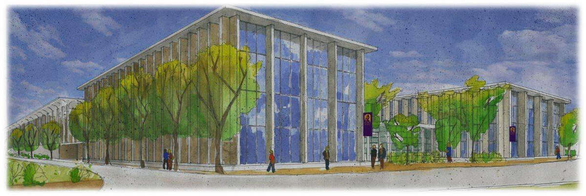 Rendering of proposed E-TECH building at University at Albany. The state University at Albany has proposed a $165 million Emerging Technology and Entreneurship Complex. The new 225,000-square-foot center, which would be located on the west side of campus near the Life Sciences building, would house expanded programs in Atmosphere and Environmental Sciences, biomedical and biotechnology studies, forensic science and cybersecurity, and advanced data and analytics. (University at Albany)