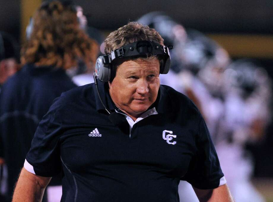 Central Catholic football coach Don Byrd paces the sidelines as his team takes on Highlands at Alamo Stadium on Thursday, Sept. 20, 2012. Photo: Billy Calzada, Express-News / © San Antonio Express-News