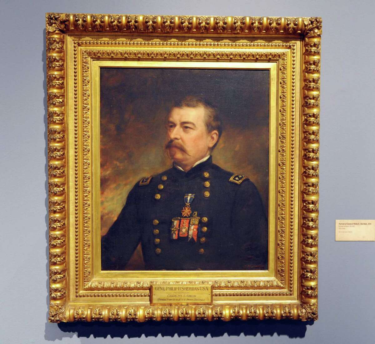An oil on canvas portrait of General Philip Sheridan seen here at the New York State Museum in the new Civil War exhibit on Wednesday, Sept. 19, 2012 in Albany, NY. The exhibit is entitled