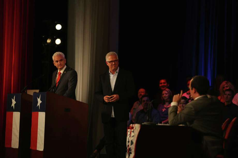 "Brian Sack (far left) and Glenn Beck (center) participate in a mock debate during Beck's ""Unelectable 2012"" political comedy show at Majestic Theatre on Thursday, Sept. 20, 2012. Photo: Courtesy Photo / TheBlaze TV Network"