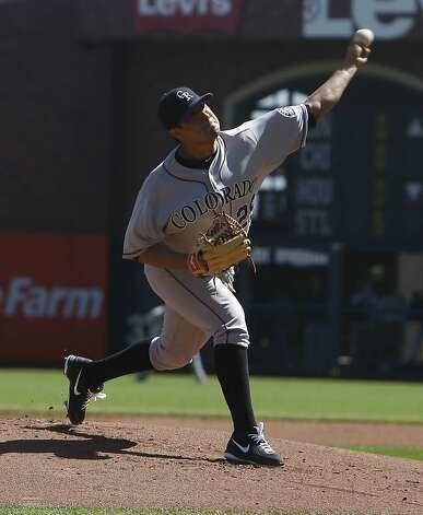 The Rockies' Jorge De La Rosa was the starting pitcher for the Colorado Rockies. The San Francisco Giants played the Colorado Rockies at AT&T Park  on Thursday,  September 20, 2012 in San Francisco, Calif. Final Score: San Francisco Giants: 9 - Colorado Rockies: 2 Photo: Lea Suzuki, The Chronicle