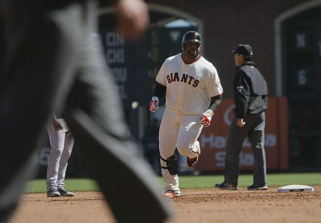 The Giants' Pablo Sandoval runs the bases after his homerun in the fourth inning. The San Francisco Giants played the Colorado Rockies at AT&T Park  on Thursday,  September 20, 2012 in San Francisco, Calif. Final Score: San Francisco Giants: 9 - Colorado Rockies: 2 Photo: Lea Suzuki, The Chronicle