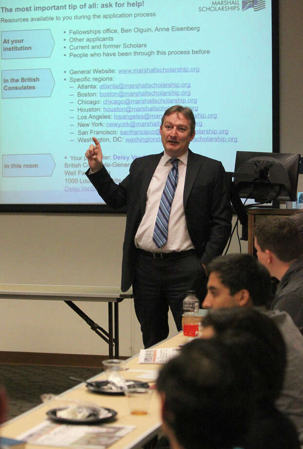 Andrew Millar, U.K. Consul-General of the British Consulate-General Houston office, speaks to students Wednesday September 19, 2012 at the University of Texas at San Antonio. Millar and others were there to encourage students to apply for available Marshall Scholarships. Marshall Scholarships are awards for graduate study in any discipline at any British University and are intended to strengthen the relationship between the British and American people. Up to 40 new Marshall scholarships are awarded each year. Photo: John Davenport, San Antonio Express-News / San Antonio Express-News