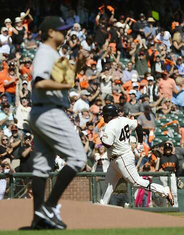 SAN FRANCISCO, CA - SEPTEMBER 20: Pablo Sandoval #48 of the San Francisco Giants trots around the bases after hitting a solo home run as pitcher Jorge De La Rosa #29 of the Colorado Rockies looks on in the first inning at AT&T Park on September 20, 2012 in San Francisco, California. (Photo by Thearon W. Henderson/Getty Images) Photo: Thearon W. Henderson, Getty Images