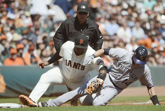 SAN FRANCISCO, CA - SEPTEMBER 20:  Pablo Sandoval #48 of the San Francisco Giants tags out Josh Rutledge #14 of the Colorado Rockies attempting to go from second to third on a ground ball to shortstop in the third inning at AT&T Park on September 20, 2012 in San Francisco, California.  (Photo by Thearon W. Henderson/Getty Images) Photo: Thearon W. Henderson, Getty Images
