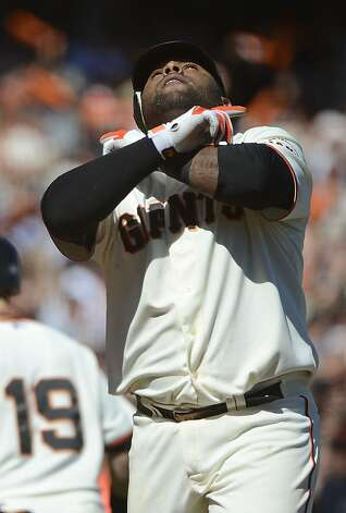 SAN FRANCISCO, CA - SEPTEMBER 20:  Pablo Sandoval #48 of the San Francisco Giants celebrates at home plate after hitting a three-run home run in the fourth inning against the Colorado Rockies at AT&T Park on September 20, 2012 in San Francisco, California. The home run was Sandovals second of the day.  (Photo by Thearon W. Henderson/Getty Images) Photo: Thearon W. Henderson, Getty Images