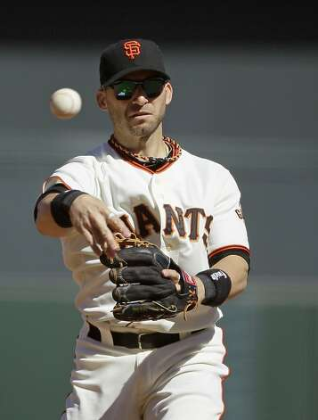 San Francisco Giants second baseman Marco Scutaro during a baseball game against the Colorado Rockies in San Francisco, Thursday, Sept. 20, 2012. (AP Photo/Eric Risberg) Photo: Eric Risberg, Associated Press