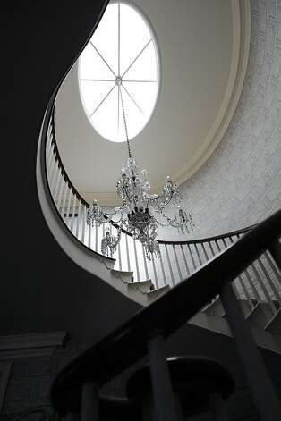 A view of the main staircase and chandelier in the foyer of the Flood Mansion in Woodside, CA Thursday September 20th, 2012 Photo: Michael Short, Special To The Chronicle