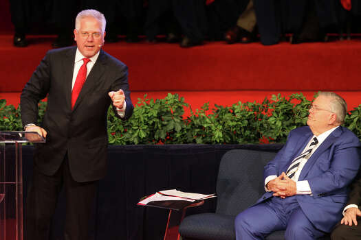 Glenn Beck speaks as Pastor John Hagee looks on at the 30th Annual Night to Honor Israel at Cornerstone Church, Sunday, October 30, 2011. Photo: Jennifer Whitney, Special To The Express-News / SAN ANTONIO EXPRESS-NEWS