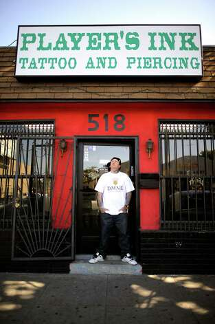 Brown is seen at Player's Ink Tattoo Studio in  San Jose, Calif., on Wednesday September 19th, 2012. Photo: Michael Short, Special To The Chronicle / ONLINE_YES