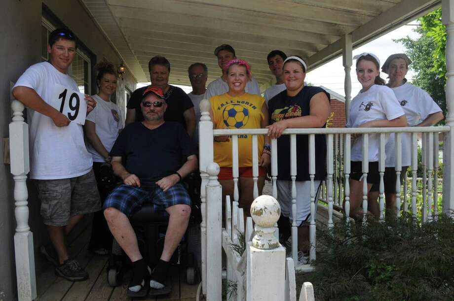 "My work crew with our ""neighbors"" Tom and Deb Easter. Credit: REACH Workcamps."