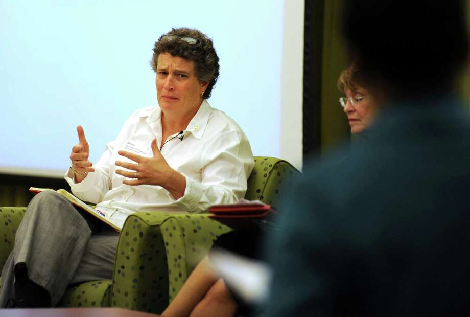 State Sen. Beth Bye (D-5th Dist.), Chair of the Higher Education and Employment Advancement Committee, participates in a panel discussion during a public forum at Housatonic Community College Friday, Sept. 21, 2012 to gather input about the role HCC should play in meeting area education and training needs. Photo: Autumn Driscoll / Connecticut Post