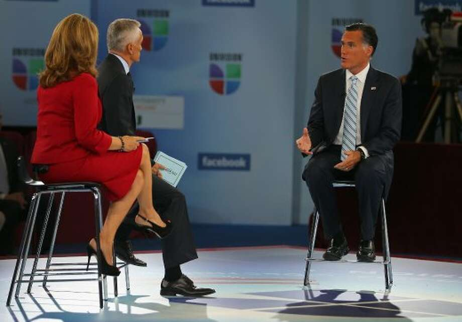 "MIAMI, FL - SEPTEMBER 19:  Republican presidential candidate, former Massachusetts Gov. Mitt Romney participates in the Univision ""Meet the Candidates"" Forum moderated by Jorge Ramos and Maria Elena Salinas, at the Bank United Field House at the University of Miami, on September 19, 2012 in Miami, Florida. Romney continues to campaign for votes around the country.  (Photo by Joe Raedle/Getty Images) (Joe Raedle / Getty Images)"