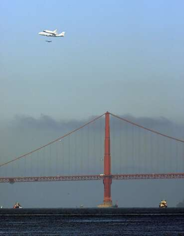 The Space Shuttle Endeavor with the Golden Gate Bridge in the foreground as it flew over the Bay Area on Friday, September 21, 2012, in San Francisco, Calif., on its farewell voyage before it is converted to a museum in Los Angeles. Photo: Carlos Avila Gonzalez, The Chronicle