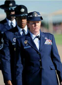 Sept. 21, 2012: Col. Deborah Liddick marches with military drill 