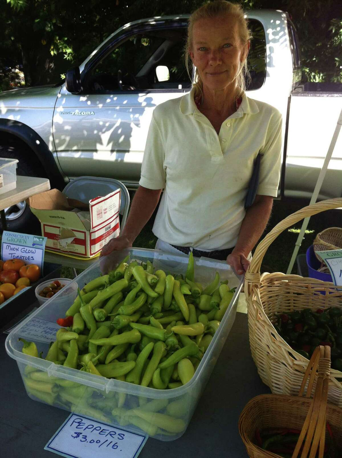 """Sandy Wityak, 50, of Danbury, nurtures a backyard garden to stock her produce stand at the farmers market in Danbury. She is tired of the """"bickering"""" in the U.S. Senate race between Linda McMahon and Chris Murphy. She wants to see a sharper focus on the issues affecting Connecticut and the country."""