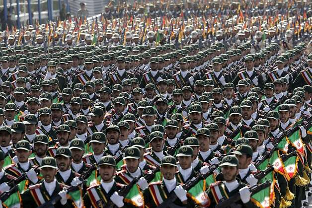 Iran's Revolutionary Guards march Friday in front of the mausoleum of revolutionary leader Ayatollah Ruhollah Khomeini during a military parade commemorating the start of the Iran-Iraq war 32 years ago. Photo: Vahid Salemi, Associated Press