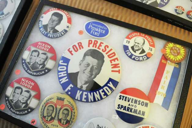 Political campaign buttons from collector Bren Price of Buffalo are displayed, Friday, Sept. 21, 2012, during a political memorabilia show held at the Best Western Sovereign Hotel in Albany, N.Y.  (Will Waldron / Times Union) Photo: Will Waldron